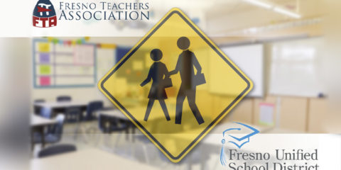 Composite of FTA and Fresno Unified logos with a children walking to school warning sign