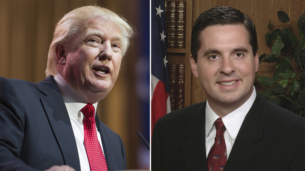 Portraits of President Donald Trump and Rep. Devin Nunes