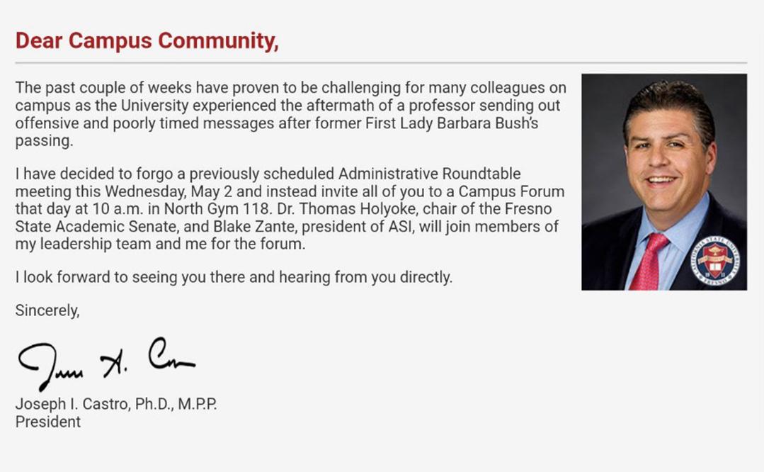 Screen shot of Fresno State President Joe Castro announcing a campus forum on the controversial tweets of creative writing professor Randa Jarrar