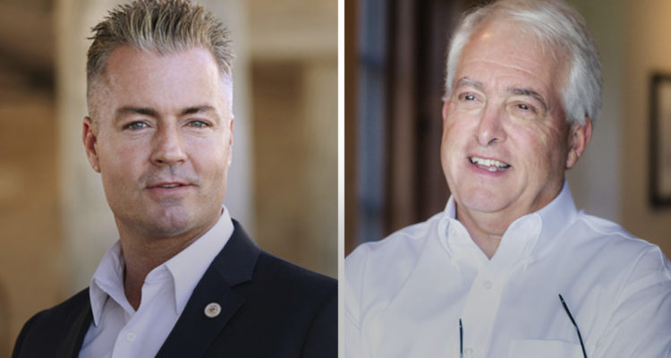 Travis Allen and John Cox images side by side. Both are Republican candidates for Governor in California