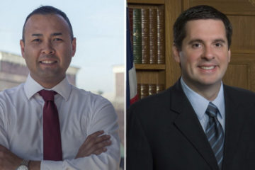 Twin photos of Andrew Janz and Devin Nunes