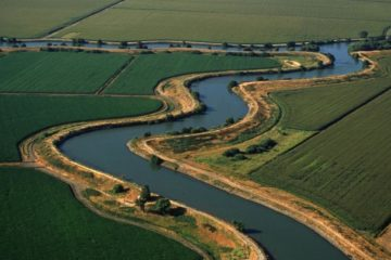 Aerial overview of the San Joaquin-Sacramento River Delta