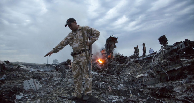 Debris at the crash site of a passenger plane near the village of Grabovo, Ukraine..