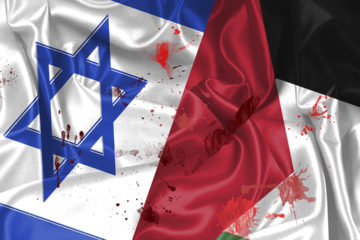 Flags of Israel and Palestine spattered with blood