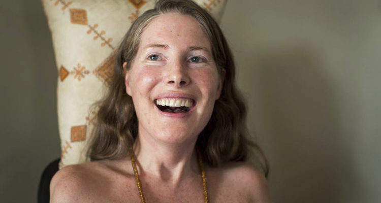 "Betsy Davis smiles during her ""Right To Die Party"" in Ojai, Calif. Davis threw herself the party as she became one of the first to use a California law to take her own life in 2016."