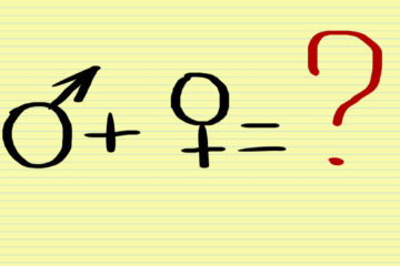 Symbol of man plus woman equals question mark.
