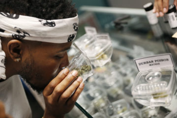 Photo of man shopping for marijuana at a legal shop in Las Vegas