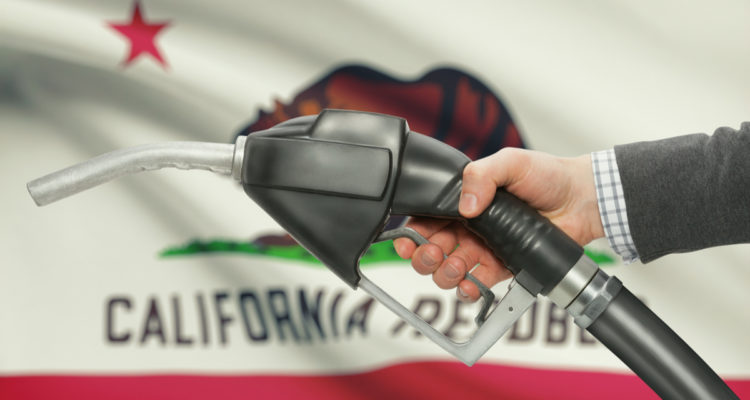 Illustration of gas nozzle in front of California flag