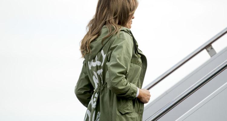 Photo of Melania Trump boarding plane
