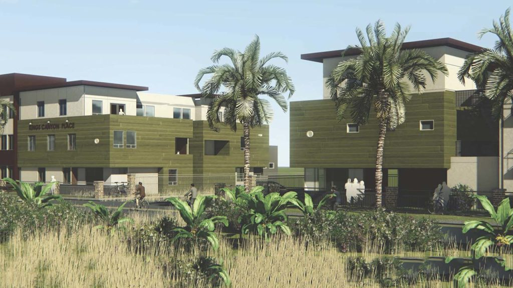 Photo Illustration of the  Las Palmas de Sal Gonzales Sr affordable housing complex