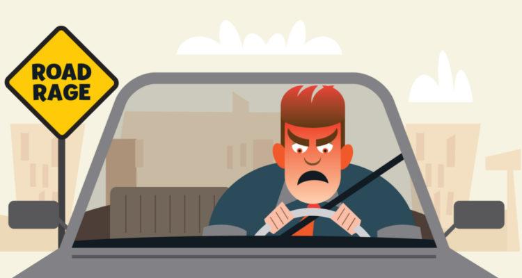 Illustration of motorist with road rage