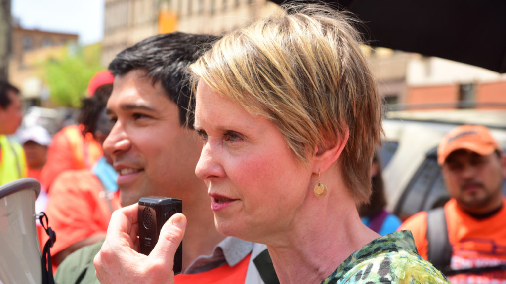 Picture of NYC Council member Carlos Menchaca and New York gubernatorial candidate Cynthia Nixon protesting ICE raids