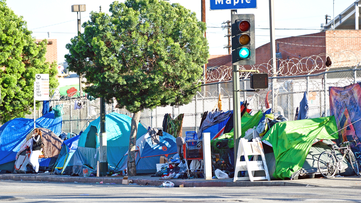 Photo of tents pitched by homeless people in Los Angeles