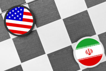 Illustration of US and Iran flags on a checkerboard