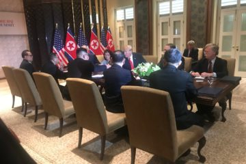 Photo of meeting between President Donald Trump and North Korea's Kim Jong Un