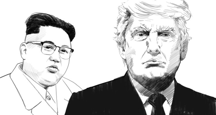 Portrait drawings of North Korea's Kim Jong Un and President Donald Trump