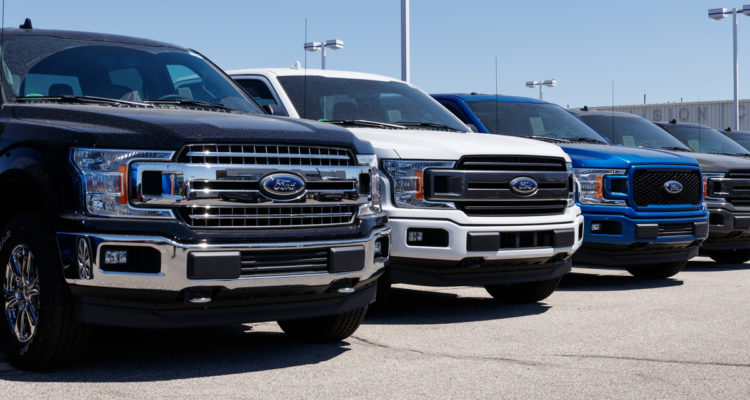 2018 Ford F-150s in dealer's lot