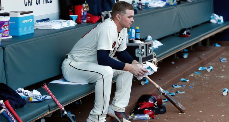 Photo of Sean Newcomb in dugout at Braves + Dodgers game