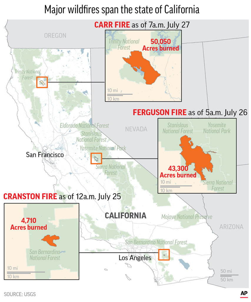 Graphic of 3 California Wildfires as of July 27, 2018