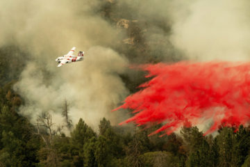 Photo of air tanker fighting Ferguson Fire