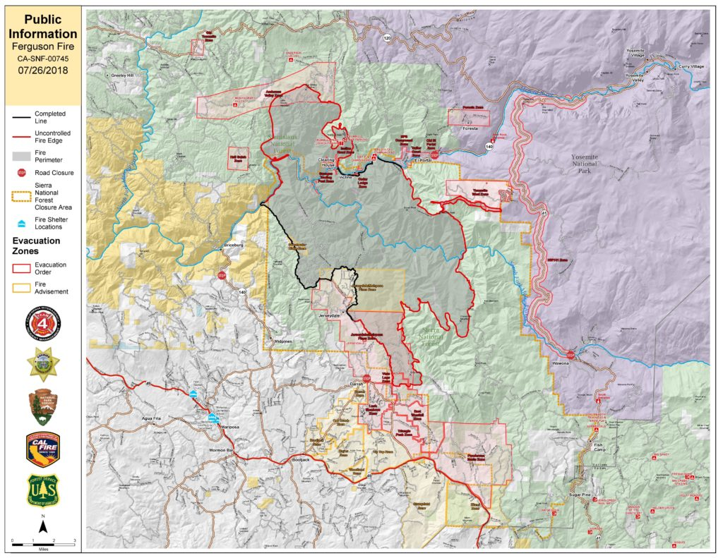 Map of Ferguson Fire through July 26, 2018
