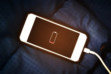Photo of a charging iPhone