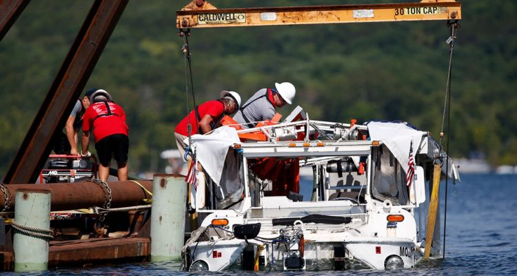 Photo of the investigation surrounding the sinking of the duck boat in Branson, Mo.