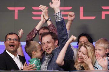 Photo of Elon Musk at Tesla Stock Offering