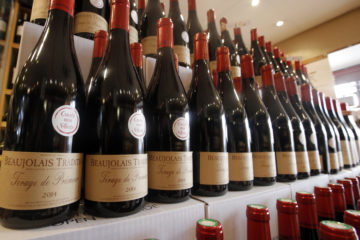 Photo of French wines on a shelf