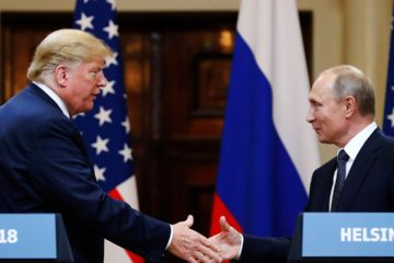 Photo of Trump and Putin shaking hands