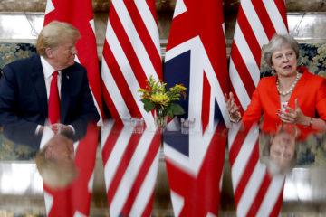 Photo of Donald Trump and Theresa May