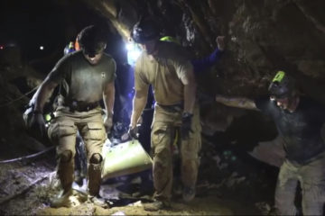 Photo of Thai boy inside cave being rescued