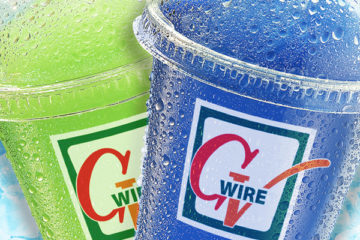 Picture of two Slurpees adorned with GV Wire logos