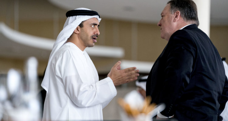 Photo of Mike Pompeo and Sheikh Abdullah bin Zayed Al Nahyan,