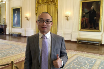 Photo of Panshu Zhao visiting the White House.