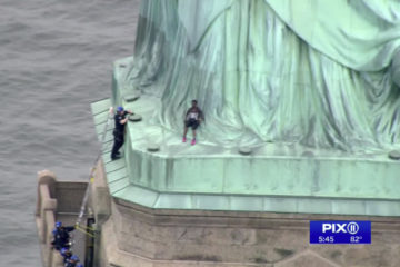 Photo of the base of the Statue of Liberty, where a woman protester tried to climb