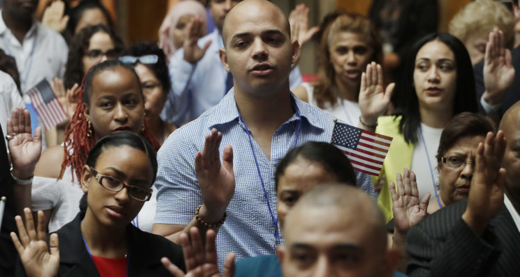 Photo of new American citizens at a naturalization ceremony