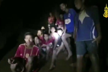 Photo of Thai soccer boys and their coach in the cave