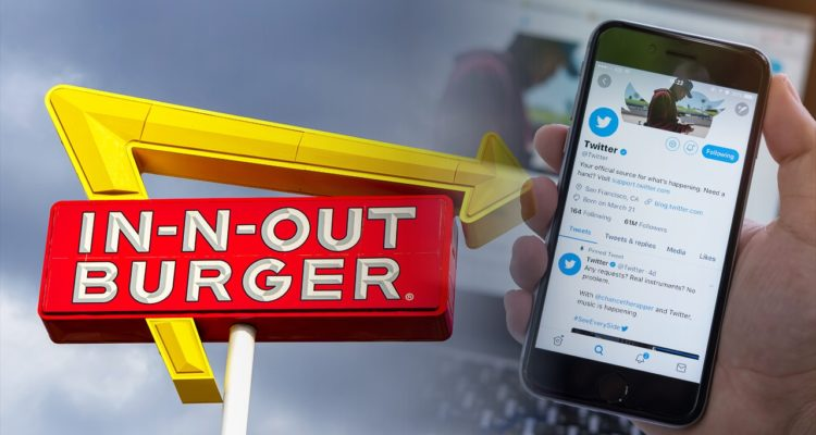 Composite photo of In-N-Out Sign and Twitter feed on smartphone