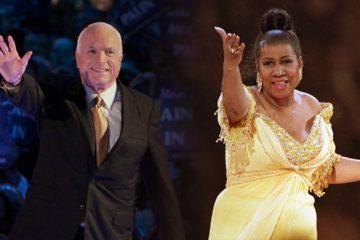 Photo combo of John McCain and Aretha Franklin