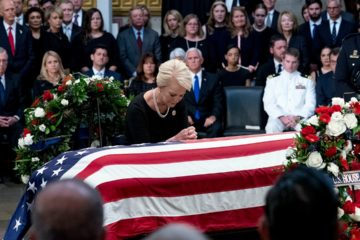 Photo of Cindy McCain and Sen. John McCain's casket