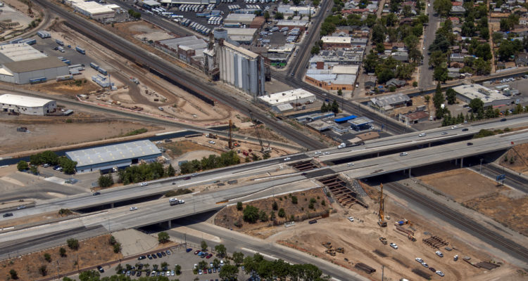Aerial photo of the Fresno Trench for CA High Speed Rail