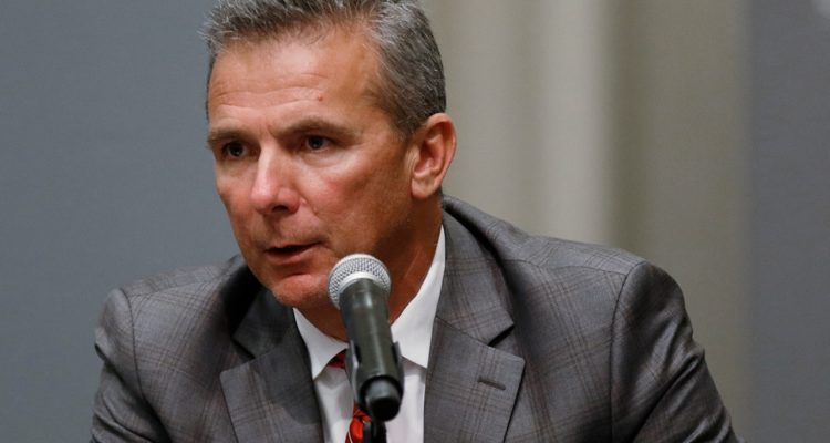 Photo of Ohio State football coach Urban Meyer during a news conference