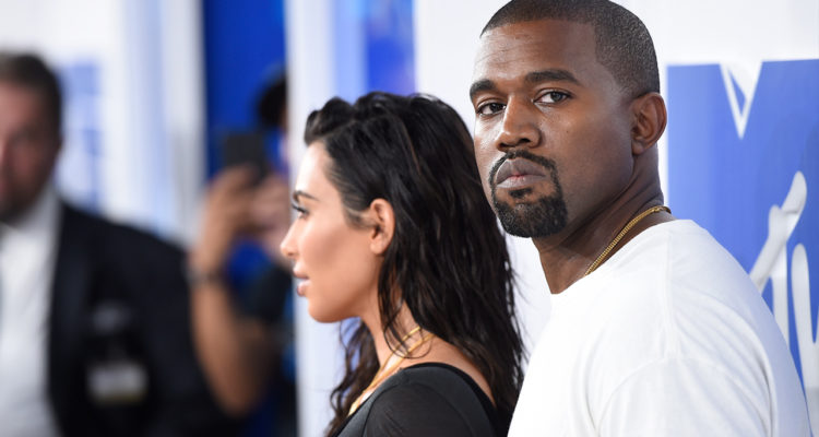 Photo of Kanye West and Kim Kardashian at the MTV Video Music Awards in 2016