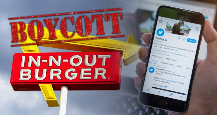 Photo of In-N-Out Burger sign and iPhone showing Twitter page