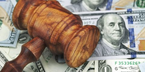 Photo of gavel and money