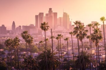 Photo of sunset and Los Angeles skyline