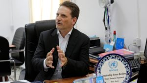 Photo of Pierre Kraehenbuehl, the head of United Nations Relief and Works Agency for Palestine Refugees (UNRWA)