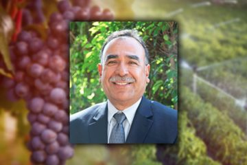 Photo Illustration of retiring irrigation district manager Gary Serrato, water and Valley crops
