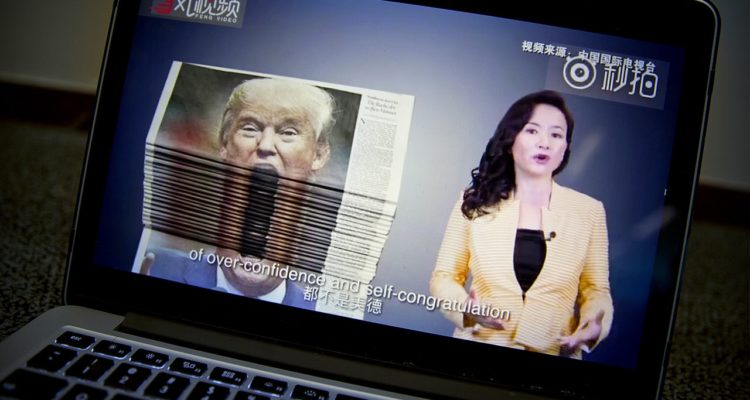 Photo of an online video about U.S.-China trade tensions produced by China's state television broadcaster
